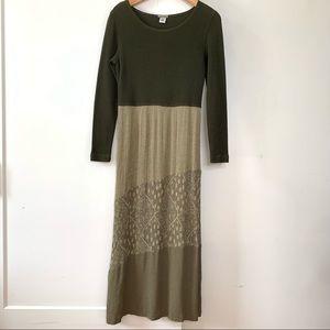 Boho green flowy maxi dress